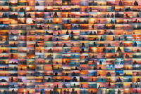 """A detail of Penelope Umbrico's Sunset Portraits from 11,827,282 Flickr Sunsets on 1/7/13, 2013. For the project, Umbrico searched the website Flickr for scenes of sunsets in which the sun, not the subject, predominated. The installation, consisting of two thousand 4 x 6 C-prints, explores the idea that 'the individual assertion of """"being here"""" is ultimately read as a lack of individuality when faced with so many assertions that are more or less all the same.' A collection of her work, Penelope Umbrico (photographs), was published in 2011 by Aperture."""