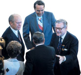 Nelson Rockefeller (right) with Ronald and Nancy Reagan, Gerald Ford, and Bob Dole at the Republican National Convention, Kansas City, Missouri, 1976