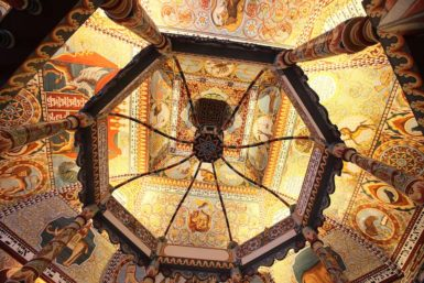 The reconstructed ceiling of a destroyed seventeenth-century Polish synagogue at the POLIN Museum of the History of Polish Jews in Warsaw, October 21, 2014