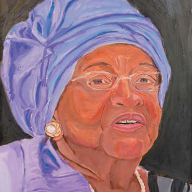 Liberian President Ellen Johnson Sirleaf; portrait by former President George W. Bush from his exhibition 'The Art of Leadership: A President's Personal Diplomacy,' at the George W. Bush Center in Dallas last spring