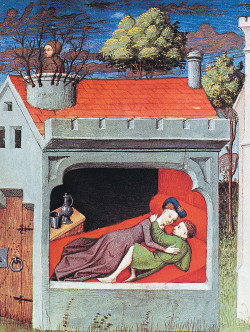 A Flemish miniature from a French translation of Boccaccio's <i>Decameron</i>, circa 1430. The fourth day of the <i>Decameron</i> includes the story of Ghismunda, the daughter of  Prince Tancredi of Salerno. Ghismunda fell in love with Guiscardo, a virtuous but humble valet in Tancredi's court, and the two began meeting secretly in her bedroom. When Tancredi found them together (here he is shown spying from the chimney), he had Guiscardo killed and his heart sent to Ghismunda in a golden chalice. Realizing what her father had done, she poured poison into the cup, drank the concoction, and died.