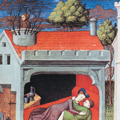 A Flemish miniature from a French translation of Boccaccio's Decameron, circa 1430. The fourth day of the Decameron includes the story of Ghismunda, the daughter of  Prince Tancredi of Salerno. Ghismunda fell in love with Guiscardo, a virtuous but humble valet in Tancredi's court, and the two began meeting secretly in her bedroom. When Tancredi found them together (here he is shown spying from the chimney), he had Guiscardo killed and his heart sent to Ghismunda in a golden chalice. Realizing what her father had done, she poured poison into the cup, drank the concoction, and died.
