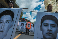 Demonstrators marching from the teachers' college in Ayotzinapa to the center of Chilpancingo, the capital of Guerrero state, Mexico, to attend a memorial mass for the forty-three abducted students, October 2014