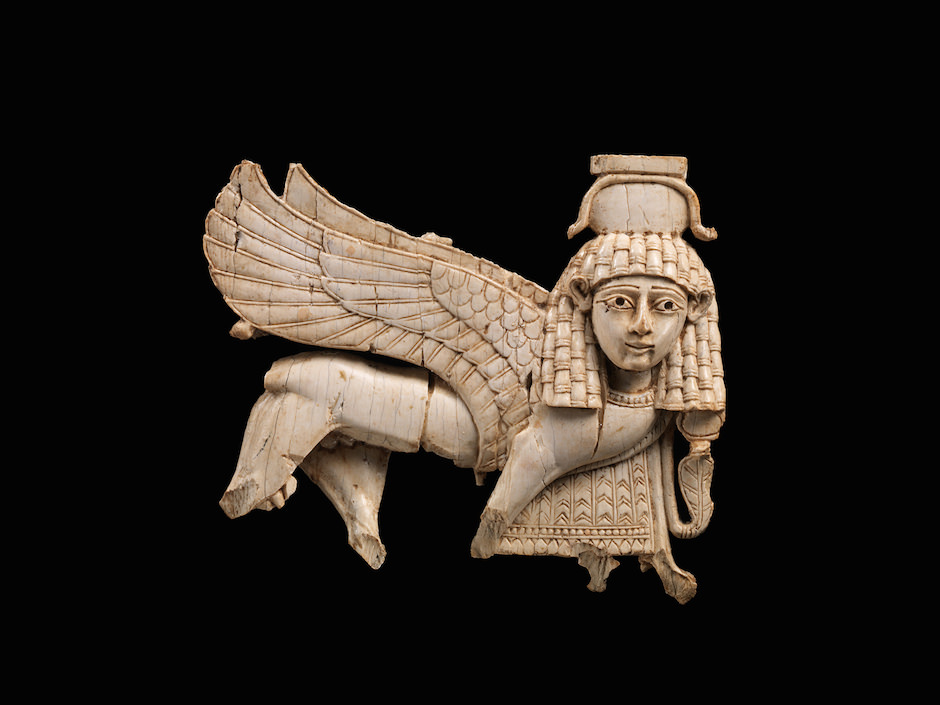 Openwork plaque with a striding sphinx, Nimrud, Neo-Assyrian period, South Syrian style, ninth-eighth century BC