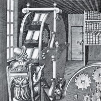 Copperplate engraving of a machine designed for studying several books at once, 1588
