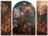 'Descent from the Cross'; triptych by Pieter Coecke van Aelst, circa 1540-1545, central panel 8 feet 7 1/8 inches x 5 feet 7 3/4 inches; left and right wings each 8 feet 11 7/8 inches x 2 feet 9 1/8 inches