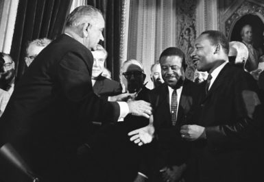 President Lyndon B. Johnson and Martin Luther King Jr. at the Capitol after the signing of the Voting Rights Act, August 6, 1965