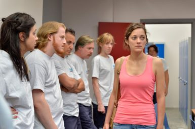 Marion Cotillard with factory coworkers in Jean-Pierre and Luc Dardenne's Two Days, One Night