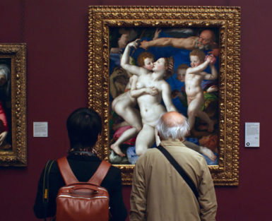 Museum visitors with Bronzino's An Allegory with Venus and Cupid, circa 1545, in Frederick Wiseman's documentary National Gallery, 2014