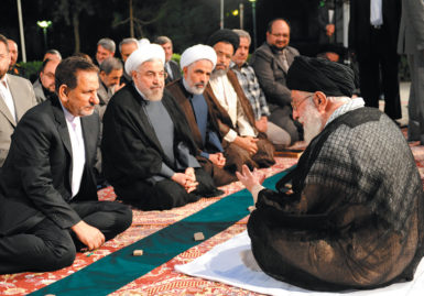 Iranian President Hassan Rouhani, second from left, and his cabinet ministers meeting with Ayatollah Ali Khamenei about Israeli air strikes on Gaza, Tehran, July 2014