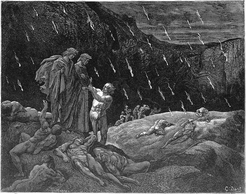 Dante recognizing his former teacher Brunetto Latini among the damned; engraving by Gustave Doré for Canto 15 of Dante's Inferno
