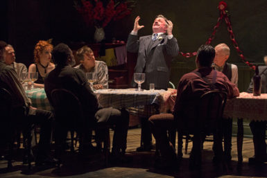 Nathan Lane as Hickey, center, in Robert Falls's production of Eugene O'Neill's The Iceman Cometh, 2015