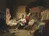 Lincoln writing the Proclamation of Freedom; lithograph based on a painting by David Gilmour Blythe, circa 1863