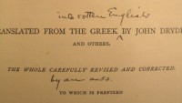 A detail from the title page of Mark Twain's copy of Plutarch's Lives, annotated by Twain