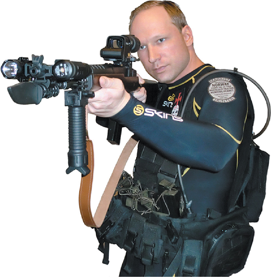 Anders Behring Breivik, the Norwegian right-wing extremist who killed seventy-seven people in a bombing and shooting rampage on July 22, 2011