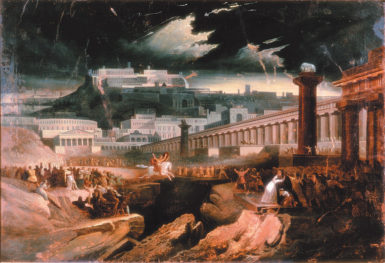 'Marcus Curtius'; after John Martin, circa 1827. According to the historian Livy, when a chasm opened up in the Forum in 362 BC and an oracle declared that Rome could endure only by casting its greatest strength into it, the soldier Marcus Curtius said that its greatest strength was arms and valor and rode his horse into the chasm, saving the city.