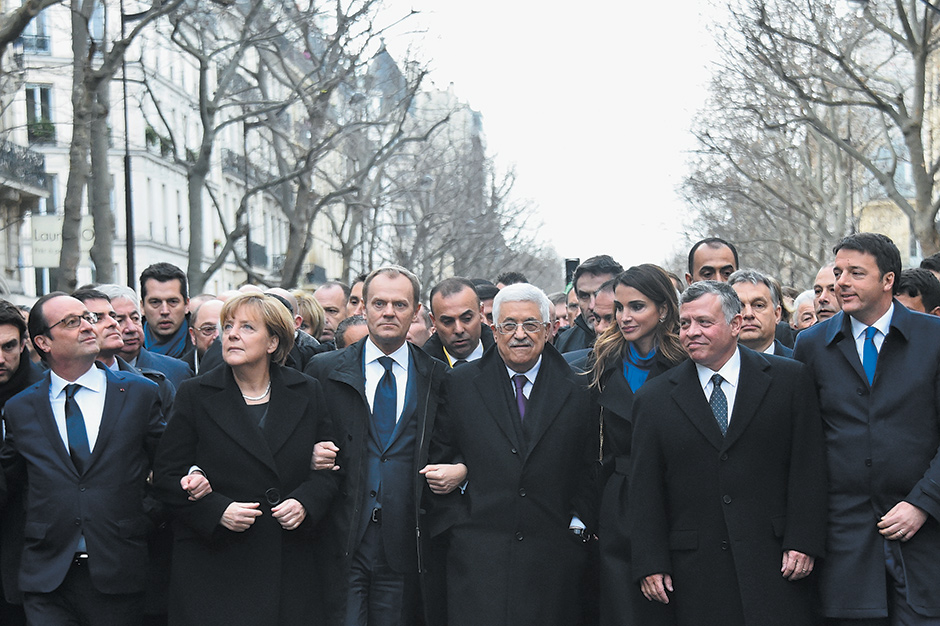 French President François Hollande, German Chancellor Angela Merkel, President of the European Council and former Polish Prime Minister Donald Tusk, Palestinian Authority President Mahmoud Abbas, Jordan's Queen Rania and King Abdullah, and Italian Prime Minister Matteo Renzi marching to protest terrorism following the attacks on Charlie Hebdo, Paris, January 11, 2015