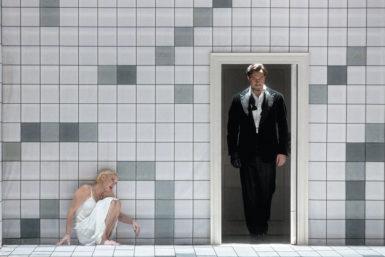 Nadja Michael as Judith and Mikhail Petrenko as Bluebeard in Béla Bartók's Bluebeard's Castle at the Metropolitan Opera, 2015