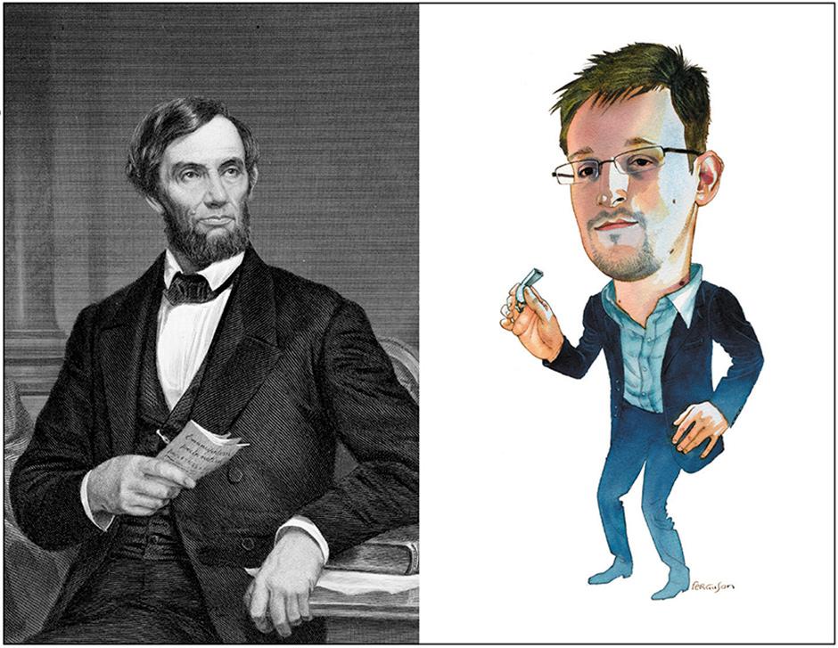 Abraham Lincoln, 1870; Edward Snowden, 2014