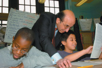 Joel Klein visiting a classroom at Public School 189, Crown Heights, Brooklyn, circa 2002