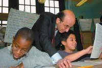 Joel Klein visiting a classroom at Public School 189, Crown Heights, Brooklyn, circa 2002
