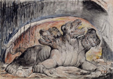 William Blake: Cerberus; from his illustrations to Dante's Divine Comedy, 1824-1827