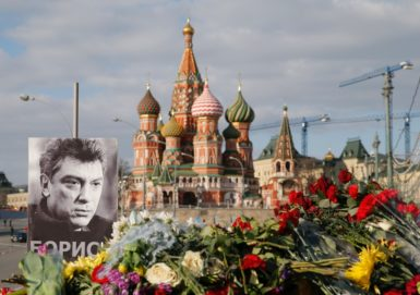 A memorial for slain opposition leader Boris Nemtsov at the site of his February 27 shooting in Moscow