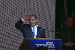 Prime Minister Benjamin Netanyahu claiming victory in Israel's general election, Tel Aviv, March 18, 2015