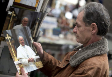 A homeless man after a haircut provided by the Vatican, Vatican City, February 16, 2015
