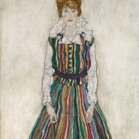 Egon Schiele: Portrait of the Artist's Wife, Standing (Edith Schiele in a Striped Dress), 1915