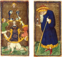 Wheel of Fortune and Time, from a set of Tarot cards designed by Bembo Bonifacio and Antonio Cicognara for the Visconti-Sforza family in the mid-fifteenth century