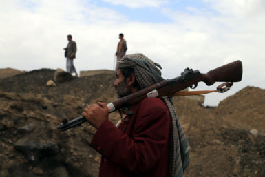 Armed Houthi members in Sanaa following the group's takeover of the Yemeni goverment, September 29, 2014