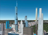 A rendering of the condominium towers planned or under construction at 225 West 57th Street (Nordstrom Tower), 157 West 57th Street (One57), 111 West 57th Street, and 53 West 53rd Street in Manhattan