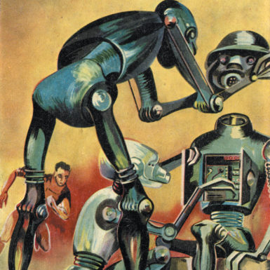 Artwork for the cover of a 1959 issue of the French science fiction magazine Galaxie