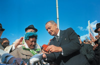 Lyndon Johnson campaigning in Illinois in 1964, the year he declared 'war on poverty'
