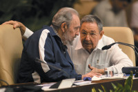 Fidel Castro and his brother, President Raúl Castro, during a meeting of Cuba's Communist Party Congress, Havana, April 2011