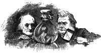 Scientists Richard Owen and Thomas Henry Huxley studying a water-baby in a flask; illustration designed by Linley Sambourne and engraved by Joseph Swain, from Charles Kingsley's The Water-Babies: A Fairy Tale for a Land-Baby, 1885