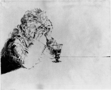 Avigdor Arikha: Samuel Beckett au verre de vin, 1969