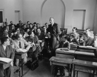 Friedrich Hayek with a class at the London School of Economics, 1948