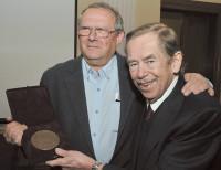 Adam Michnik receiving the 2010 Hanno R. Ellenbogen Citizenship Award for public service from Václav Havel, Prague, Czech Republic, January 2011