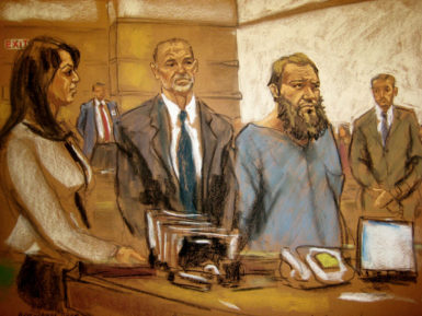 A courtroom sketch of Mohanad Mahmoud Al Farekh at federal court in New York, April 2, 2015