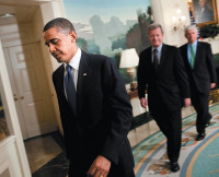 President Obama with Senators Max Baucus and Christopher Dodd at the White House after making a statement on Medicare prescription drugs, June 2009