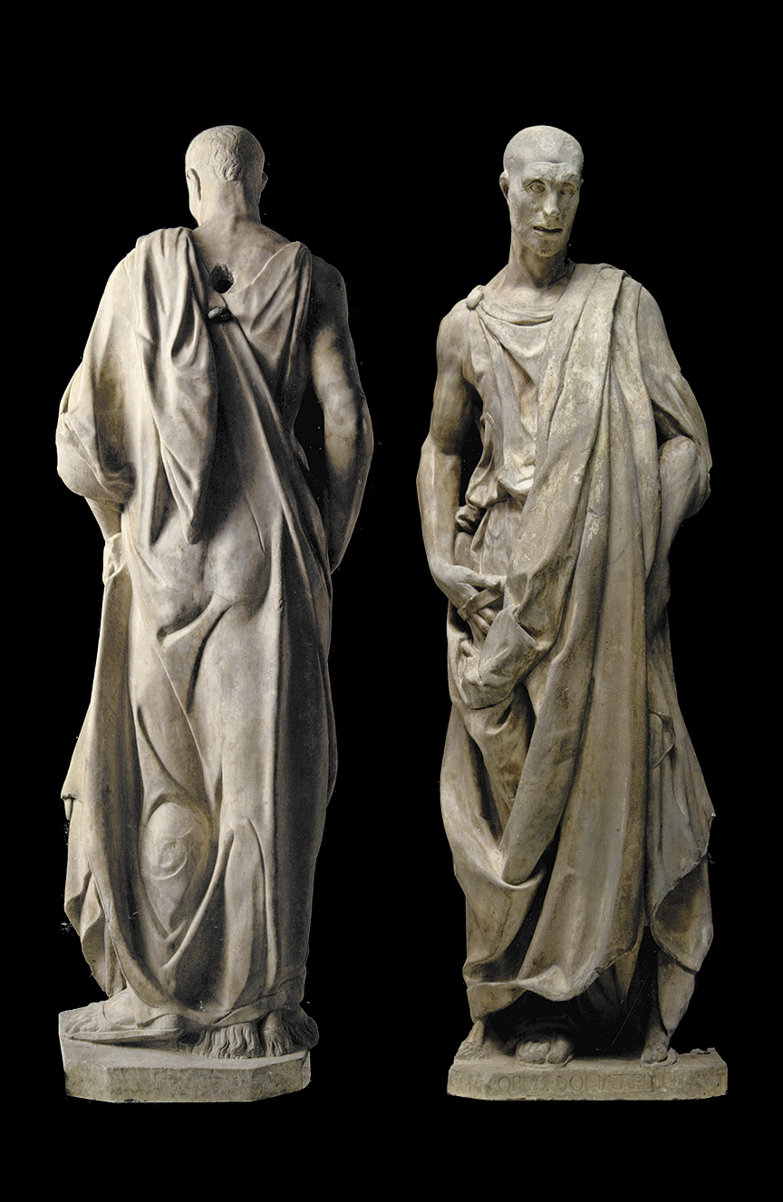 'Prophet' (possibly Habakkuk), known as the 'Zuccone'; marble sculpture by Donatello, 1427–1436