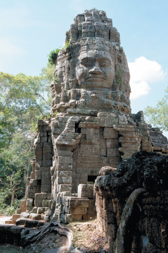 A tower at the Bayon temple, founded by the Khmer king Jayavarman VII, Angkor, Cambodia, late twelfth–early thirteenth centuries