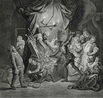 François de Poilly the Younger after Charles Coypel: Don Quixote Mistakes Puppets for Moors and Believes He Is Rescuing Two Runaway Lovers, 1723 (click images to enlarge)