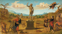 Piero di Cosimo: Prometheus Fashioning the First Man, circa 1510–1515