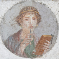 Portrait of a young woman often identified as Sappho; fresco, Pompeii, first century CE