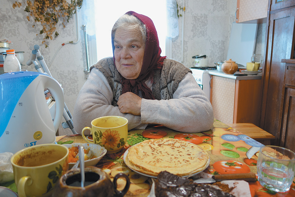 Galya Malchik, a resident of Karapyshi, Ukraine, who told Tim Judah that a local man with a truck had asked for donations of food for Ukrainian troops in the east, but that he received so much that he left before she could give him her contribution, March 2015
