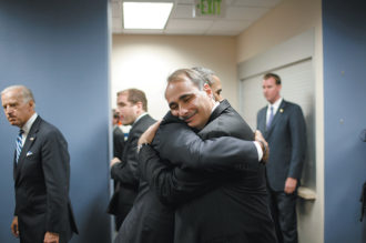 Presidential candidate Barack Obama and his chief campaign strategist, David Axelrod, at the Democratic National Convention, Denver, August 2008. Joe Biden is at left.