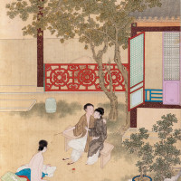 'Pan Jinlian (Golden Lotus) Humiliated for Being Intimate with a Servant'; from Illustrations for the Novel Jin Ping Mei, or The Plum in the Golden Vase, seventeenth century